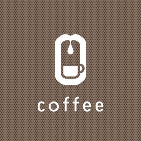 chicchi di caff?: Caffè concetto di logo con schema di caffè.