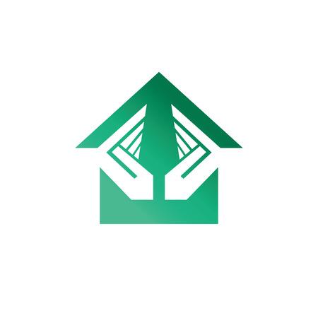 house logo: House security services logo. Vector Logo Template Illustration