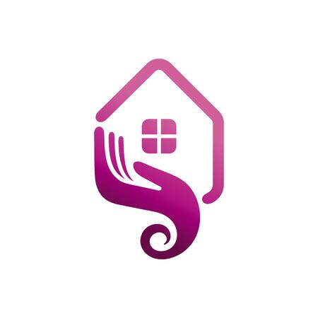 Projekt logo dla koncepcji domu zielonego. Szablon Logou Wektorowego,