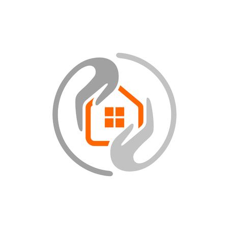 cuidado en el hogar idea logotipo del servicio de limpieza. Plantilla Logo Vector.