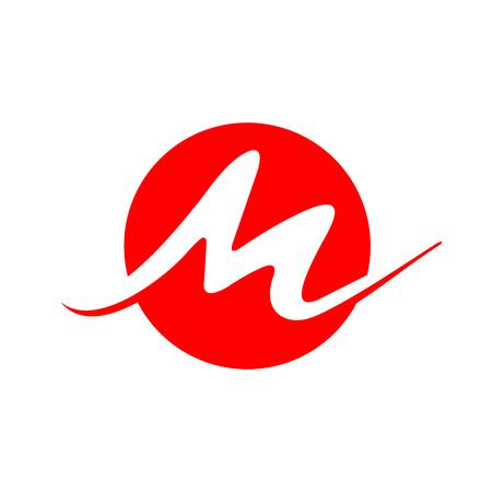Simple line circle M letter. Vector Logo M. 일러스트