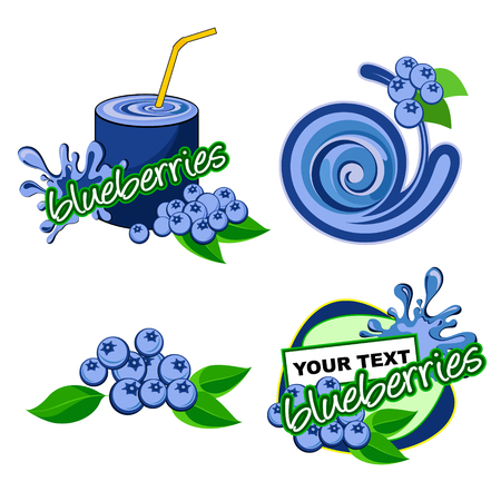 Blueberries Label isolated vector sign symbol