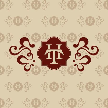 Logo TH letter business card vector illustration