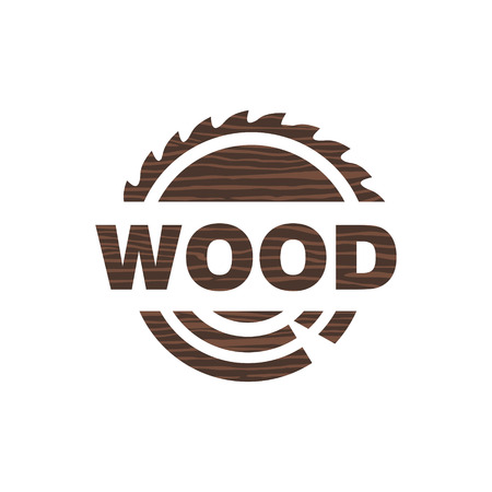 Logo icon sawmill wood circular vector illustration