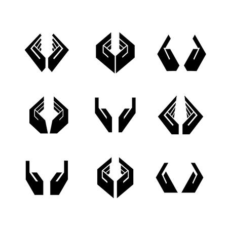 Nine black vector hands in different shapes Illustration