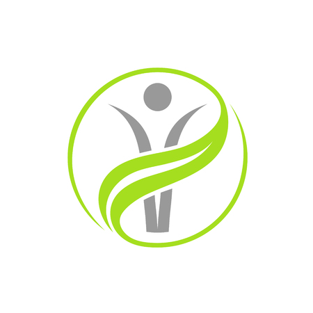 Grey vector person in green circle logo