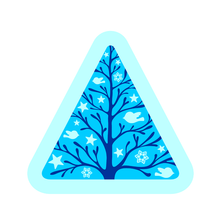 Blue triangle with tree and birds and stars inside