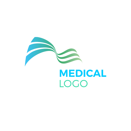 Green blue abstract medical icon curve waves illustration. 일러스트