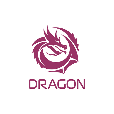 Purple vector chinese dragon in circle shape