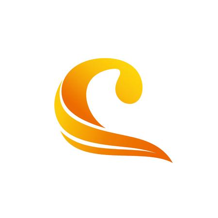 abstract logo yellow orange stripes c s letter Vector illustration.