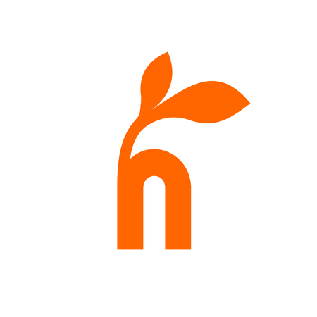 Small orange h letter with two leaves on the top 일러스트