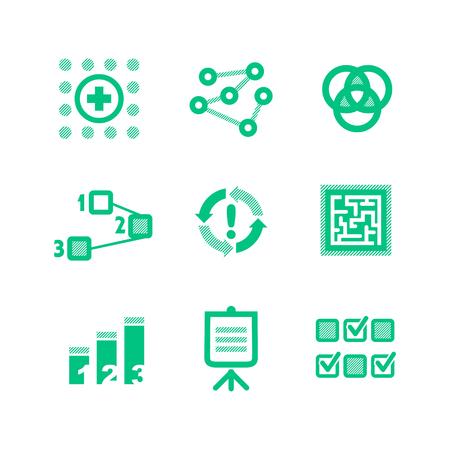 Nine green icons describing a business processes 일러스트