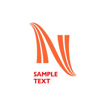 Orange Vektor N bestehend aus einer oder zwei Linien Vektorgrafik