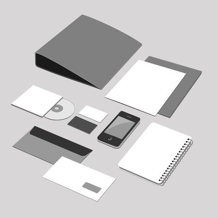 corporate identity office equipment stuff Vector illustration.