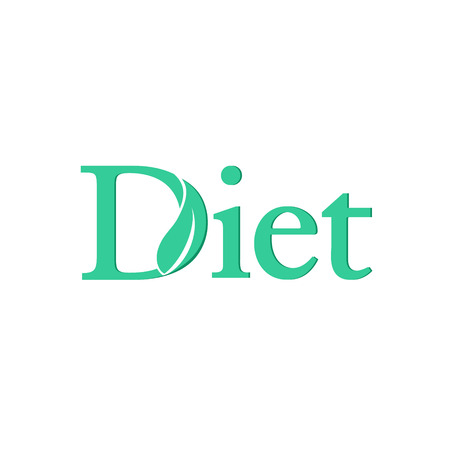Green logo diet with leaves on D Vector illustration. 일러스트