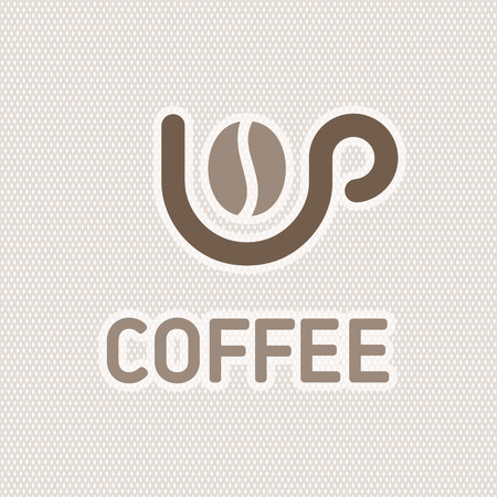 Brown silhouette and cup with coffee bean inside Vector illustration.