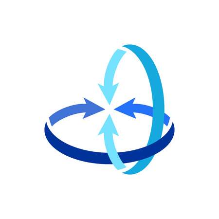two both direction arrows creating 3D circle together Vector illustration.
