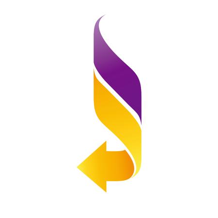 One curly yellow arrow with purple line Vektorové ilustrace