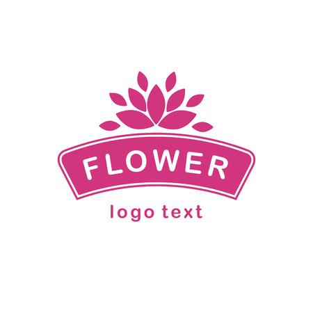 Pink white frame sign with flower above Vector illustration.
