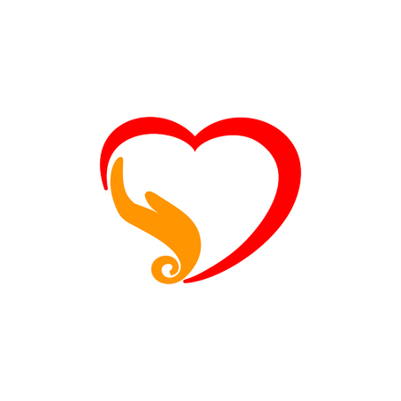 Red heart with orange hand instead one side 일러스트