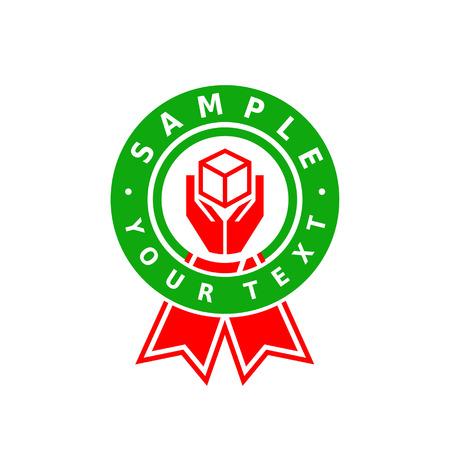 Green circle red hand hold box inside ribbon logo
