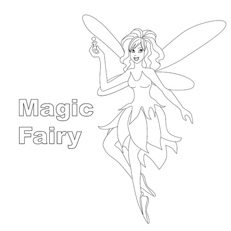 Magic fairy isolated illustration. Vector coloring page for kids