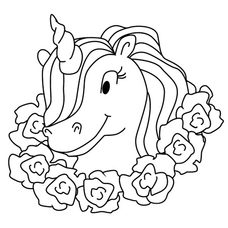 Magic unicorn isolated illustration. Vector coloring page for kids