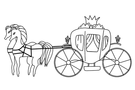 Carriage for princess isolated illustration. Vector coloring page for kids