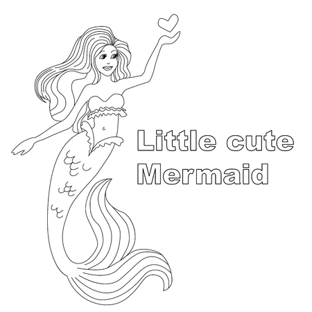 Little cute mermeid girl with a small heart. Vector illustration for coloring page book Ilustração