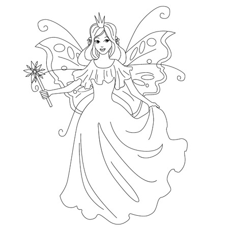 Magic fairy princess isolated illustration. Vector coloring page for kids