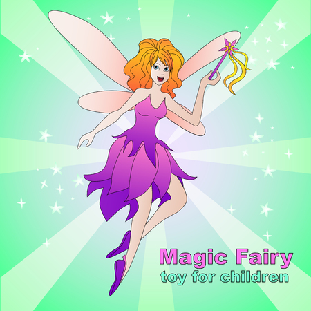 Magic fairy  illustration. Vector coloful illustration for kid toys package