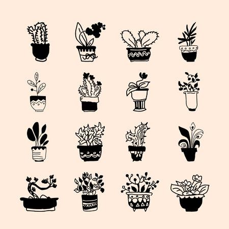 Cute pots with blloming housplants and cactus. Hand drawn vector illustration set Ilustração