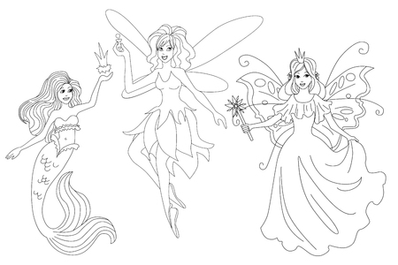 Set of magic characters. Isolated vector coloring page for print Ilustração