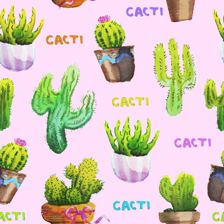 Seamless pattern of hand drawn watercolour cactus Stok Fotoğraf