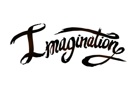 Word Imagination hand drawn lettering vector Ilustração