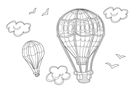 Aerostat coloring page for kids. Vector illustration of air ballons in the sky