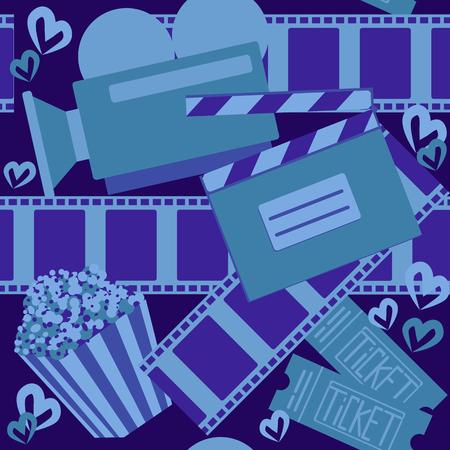 Cinema and movie. Seamless pattern for web design or print. Vector illustration Ilustração