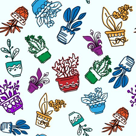 Seamless vector pattern of hand drawn houseplants in pots