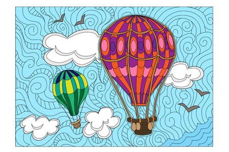 Vector illustration of aerostats in sky