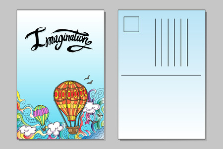 Vector template of postcard with airballoons and word imagination lettering Ilustração