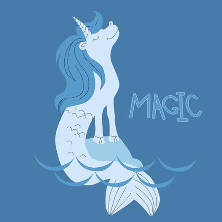 Vector illustration of unicorn mermaid in water