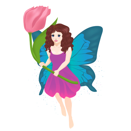Vector illustration of little fairy girl isolated
