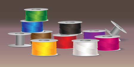 Vector illustration of colorful threads and bobbins