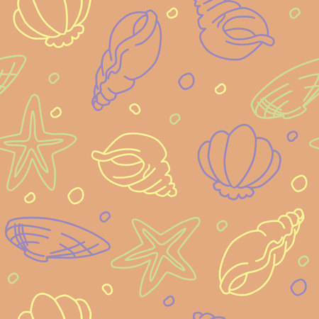 Seamless pattern of seashells and starfishes vector