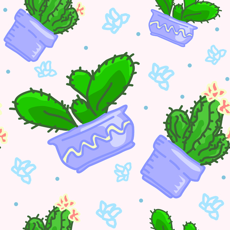 Seamless vector pattern of drawn cactus in pots