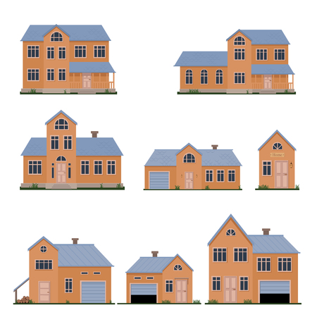 Family house flat vector illustration set