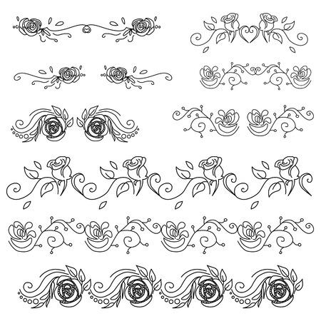 Set of vintage vignettes with leaves and flowers vector Ilustração