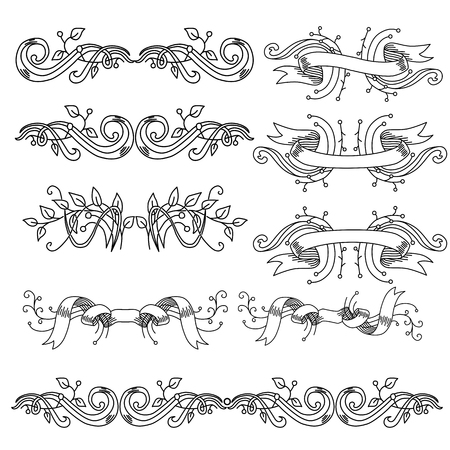 Set of vintage vignettes with leaves and ribbons vector