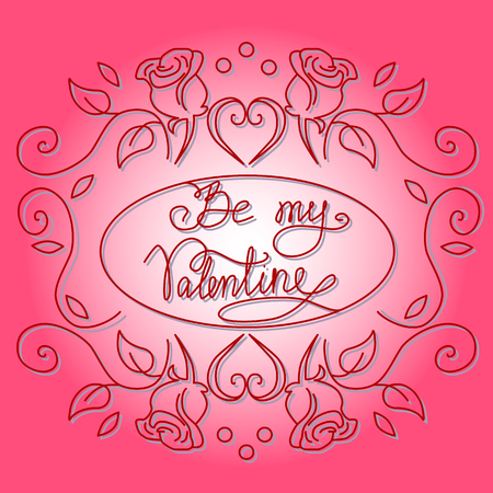 Be my Valentine hand drawn vector illustration Ilustração