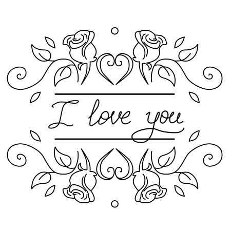 Word I love you hand drawn vector illustration